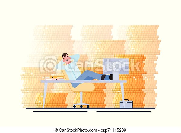 Successful business man. Business man is resting at his workplace. Procrastinating and wasting time concept. Vector illustration. - Vector - csp71115209