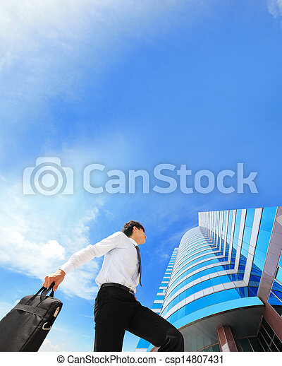successful business man outdoors Next to Office Building - csp14807431
