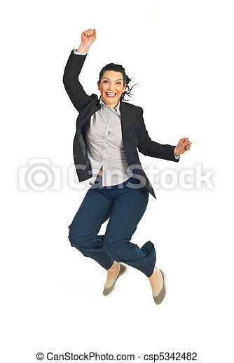 Successful business woman jumping - csp5342482