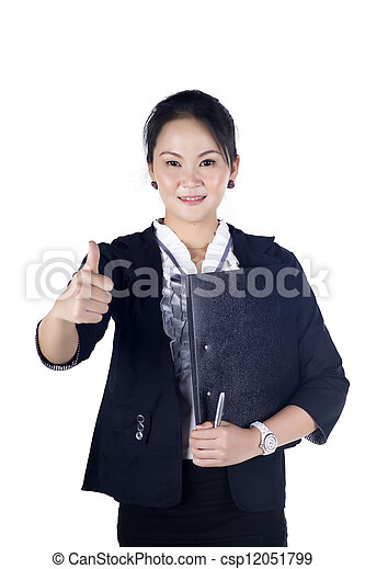 Successful business woman showing thumbs up sign, holding black file, isolated white background. - csp12051799