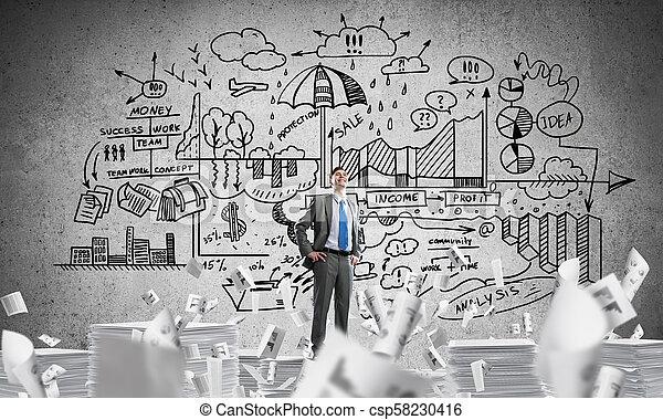 Successful confident businessman in suit. - csp58230416