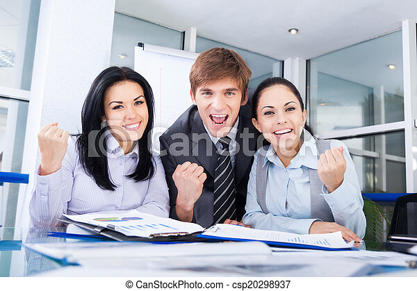 Successful excited Business people group team - csp20298937