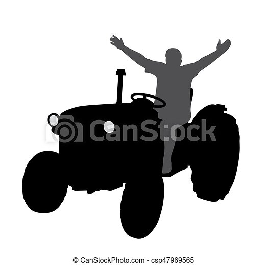 Successful happy farmer on tractor with hands up - csp47969565