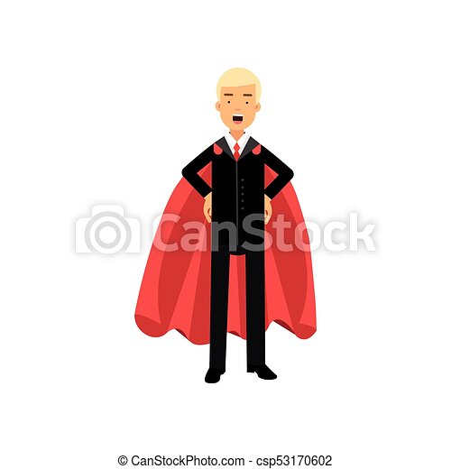 Successful man in red superhero cape standing with arms akimbo  Male  character in classic business suit with tie  Office worker in confident  pose