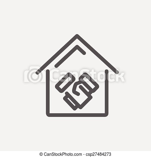 Successful real estate transactions thin line icon - csp27484273