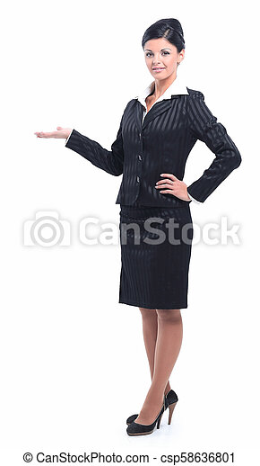 successful woman pointing on copy space. - csp58636801