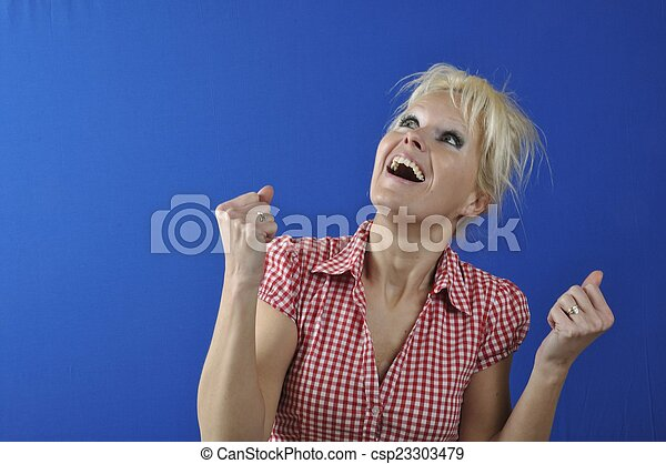 Successful woman with arms up - csp23303479