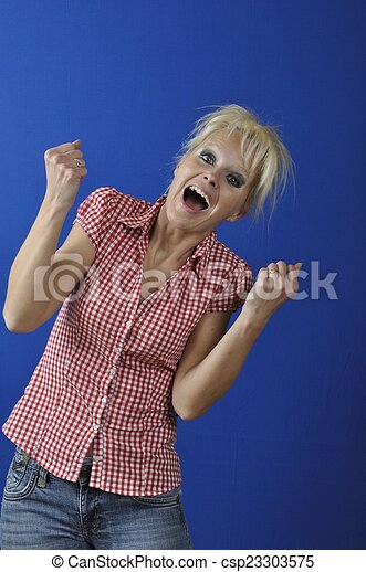 Successful woman with arms up - csp23303575
