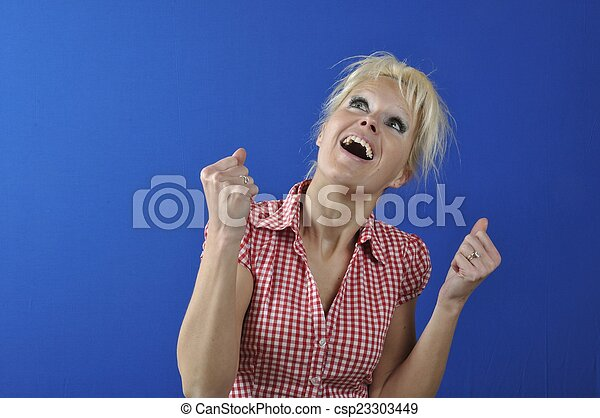 Successful woman with arms up - csp23303449