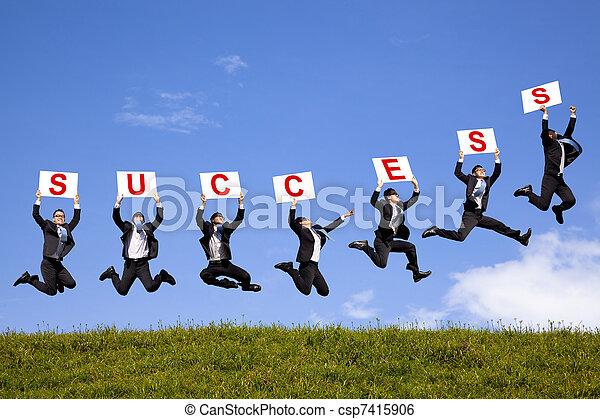 successo, testo, campo, saltare, verde, presa a terra, uomo affari, felice - csp7415906