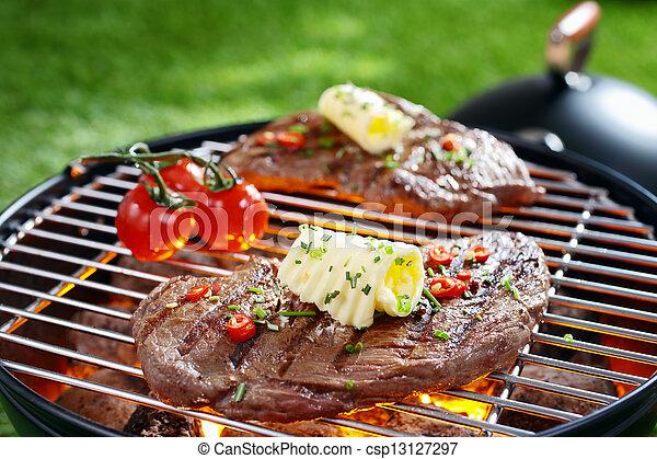 succulento, bistecca, barbecue - csp13127297