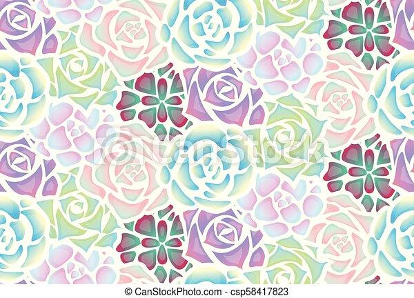 succulents, pezze, modello, neon, seamless, luce - csp58417823