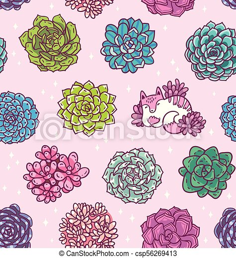 Succulents With Cute Cat Seamless Pattern Beautiful Floral Vector