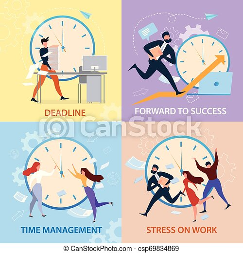 Sucess Time Management Stress Work Deadline Banner Forward To Sucess Time Management Stress On Work Deadline Banner Set