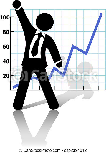 sucesso, crescimento negócio, levanta, punho, homem negócios, comemorar - csp2394012