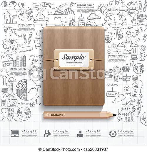 sucesso, estratégia, livro, infographic, pla, doodles, forre desenho - csp20331937