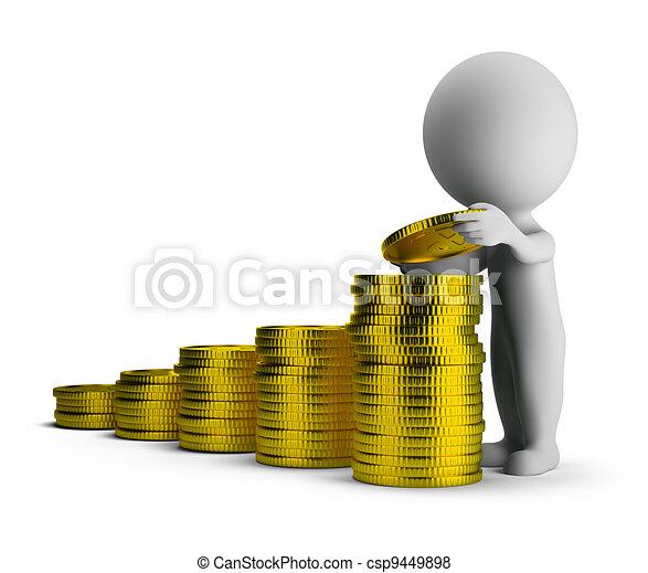 sucesso financeiro, pessoas, -, pequeno, 3d - csp9449898