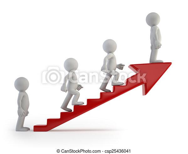sucesso, pessoas, escada, -, pequeno, 3d - csp25436041