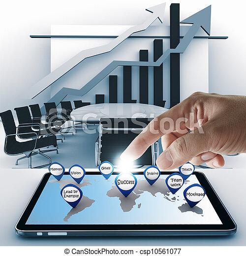 sucesso, tabuleta, ponto, mão, computador negócio, ícone - csp10561077