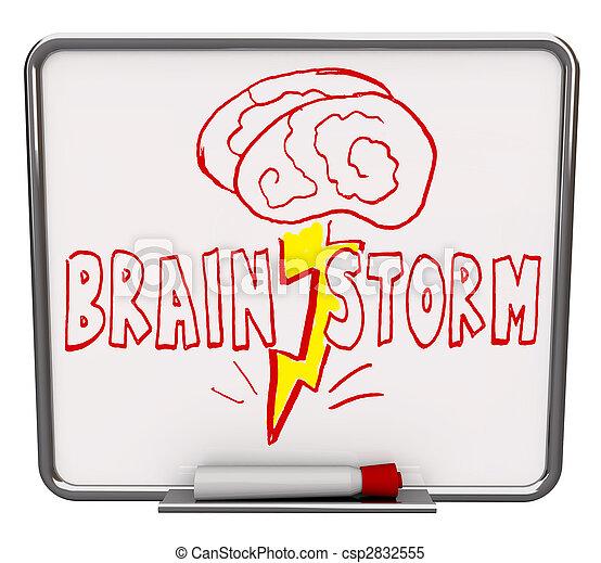suchy, -, wytrzyjcie, deska, markier, brainstorm, czerwony - csp2832555