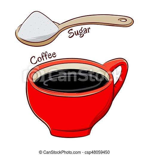 Tasse clipart  Clipart Vecteur de sucre, café, entiers, cuillère, tasse - café ...