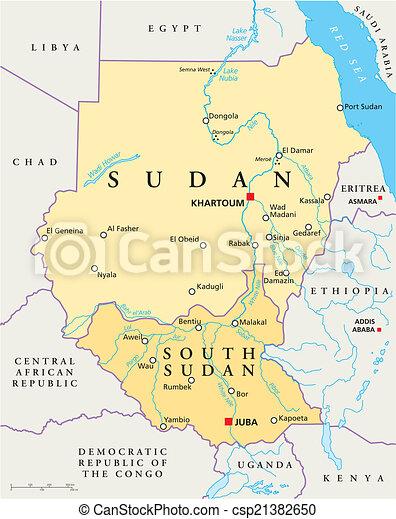 Sudan and south sudan political map Political map of sudan