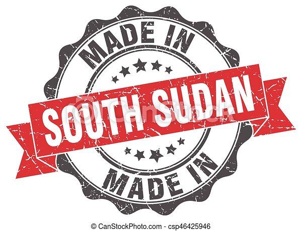 sudan, gjord, runda, syd, försegla - csp46425946