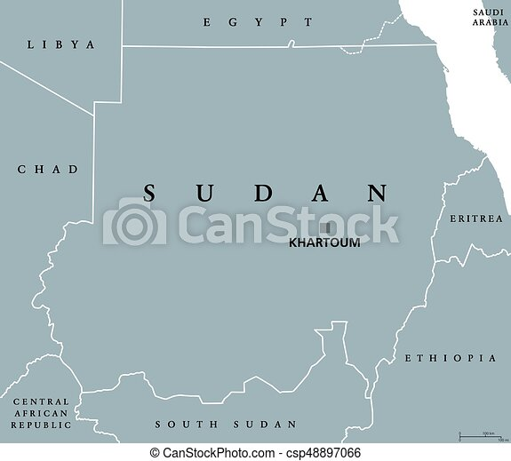 Political Map Of Sudan.Sudan Political Map With Capital Khartoum And National Borders