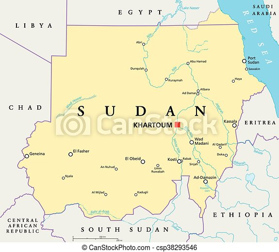 Sudan political map with capital khartoum national borders eps