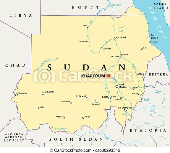Sudan political map with capital khartoum national borders eps