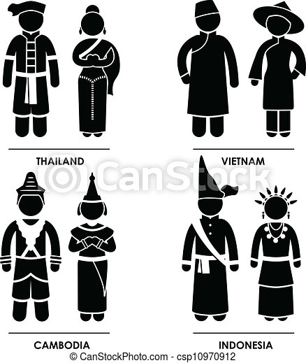 Traje de ropa del sureste de Asia - csp10970912