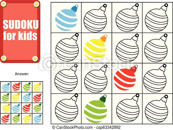 Christmas Sudoku.Sudoku For Children Kids Activity Sheet New Year Christmas Winter Holidays Theme