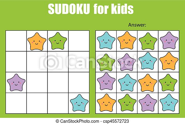Sudoku game for children. Kids activity sheet with cute stars characters - csp45572723