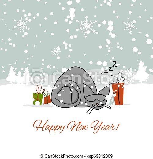 Diseño de tarjetas de Navidad con gato dormido - csp63312809