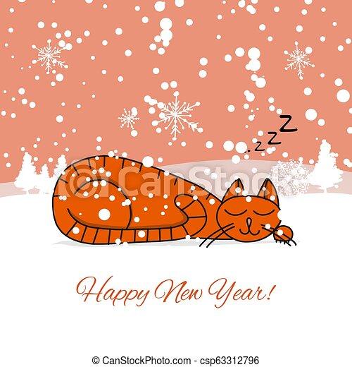 Diseño de tarjetas de Navidad con gato dormido - csp63312796
