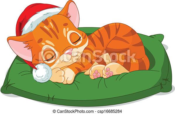 Gatito de Navidad durmiendo - csp16685284