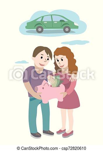 sueños, inversión, asideros, su, concept., hombre, sobre, banco, mano, coche., ahorro, cerdito, mujer, dinero - csp72820610