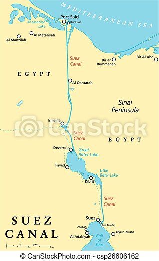 Suez canal political map. artificial sea-level waterway in egypt ...