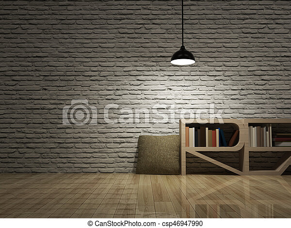 Niesamowite Sufit, podłoga, drewniany, cegły, lampa, biblioteczka, ściana LS51