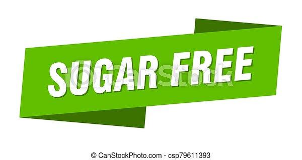 sugar free banner template. sugar free ribbon label sign - csp79611393