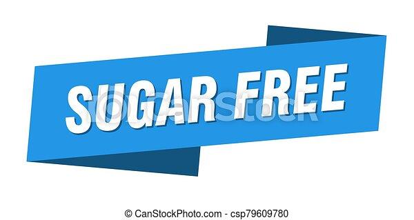 sugar free banner template. sugar free ribbon label sign - csp79609780