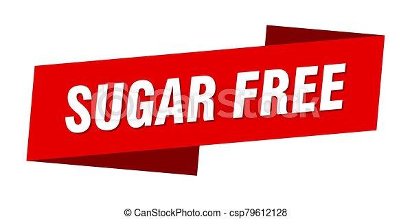 sugar free banner template. sugar free ribbon label sign - csp79612128