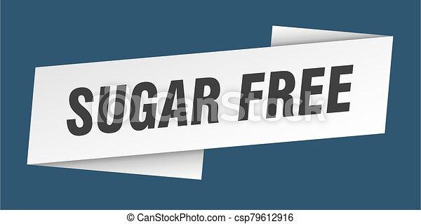 sugar free banner template. sugar free ribbon label sign - csp79612916