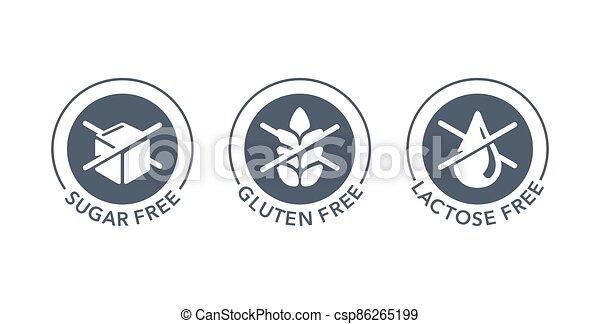 Sugar free, Gluten free, Lactose free stamps set - csp86265199