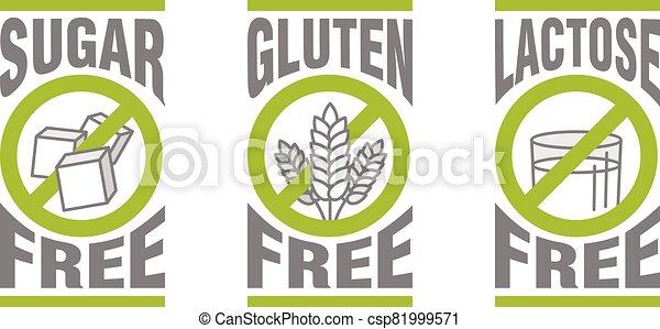 Sugar free, Gluten free, Lactose free - csp81999571