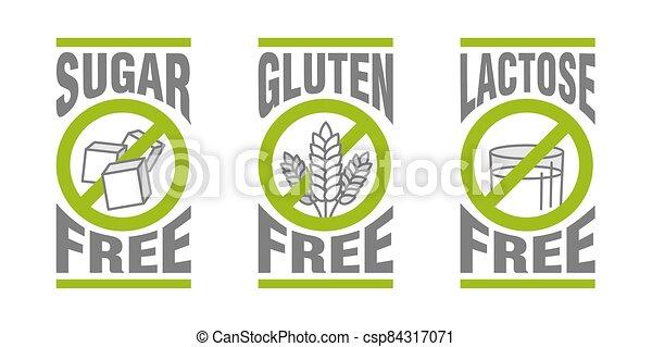 Sugar free, Gluten free, Lactose free - csp84317071