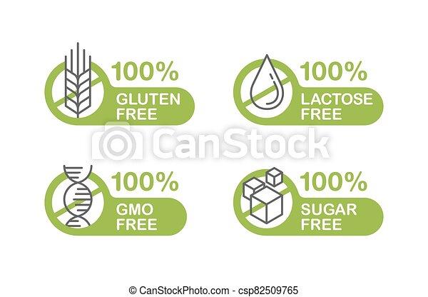 Sugar free, Gluten, Lactose, GMO stamp - csp82509765