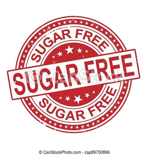 sugar free grunge stamp isolated on white background - csp89700866