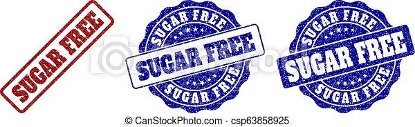 SUGAR FREE Grunge Stamp Seals - csp63858925