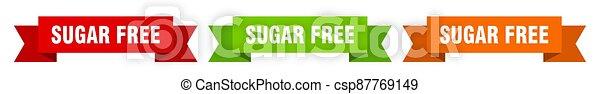 sugar free ribbon. sugar free isolated paper sign. banner - csp87769149
